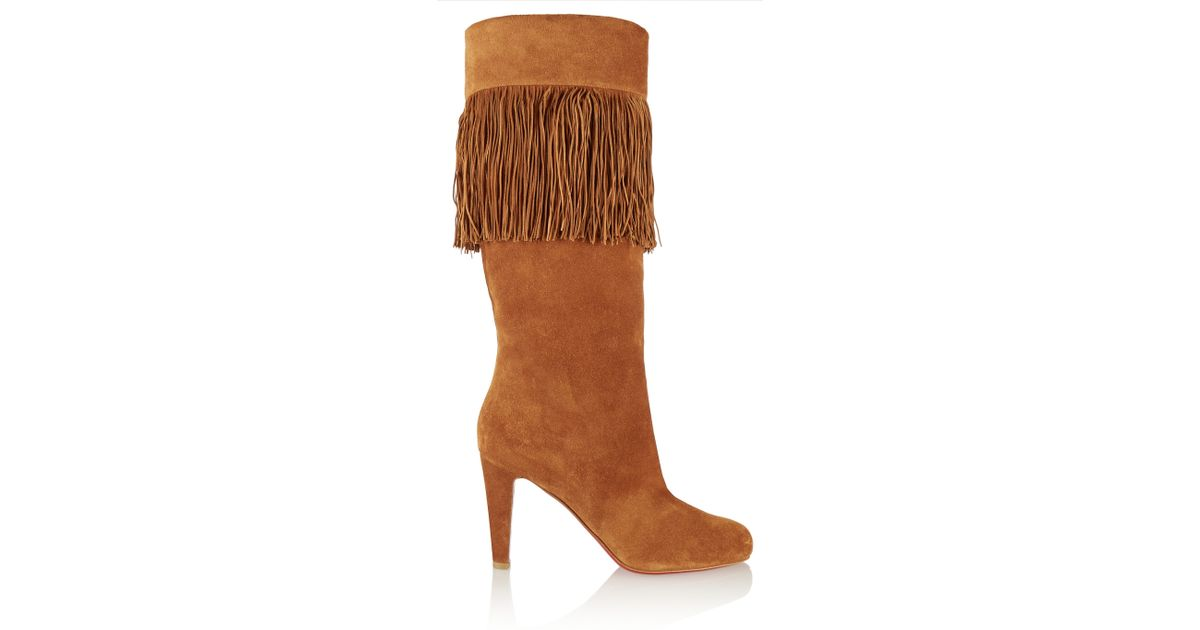64e6b9596aa9 Lyst - Christian Louboutin Majung 85 Fringed Suede Knee Boots in Brown