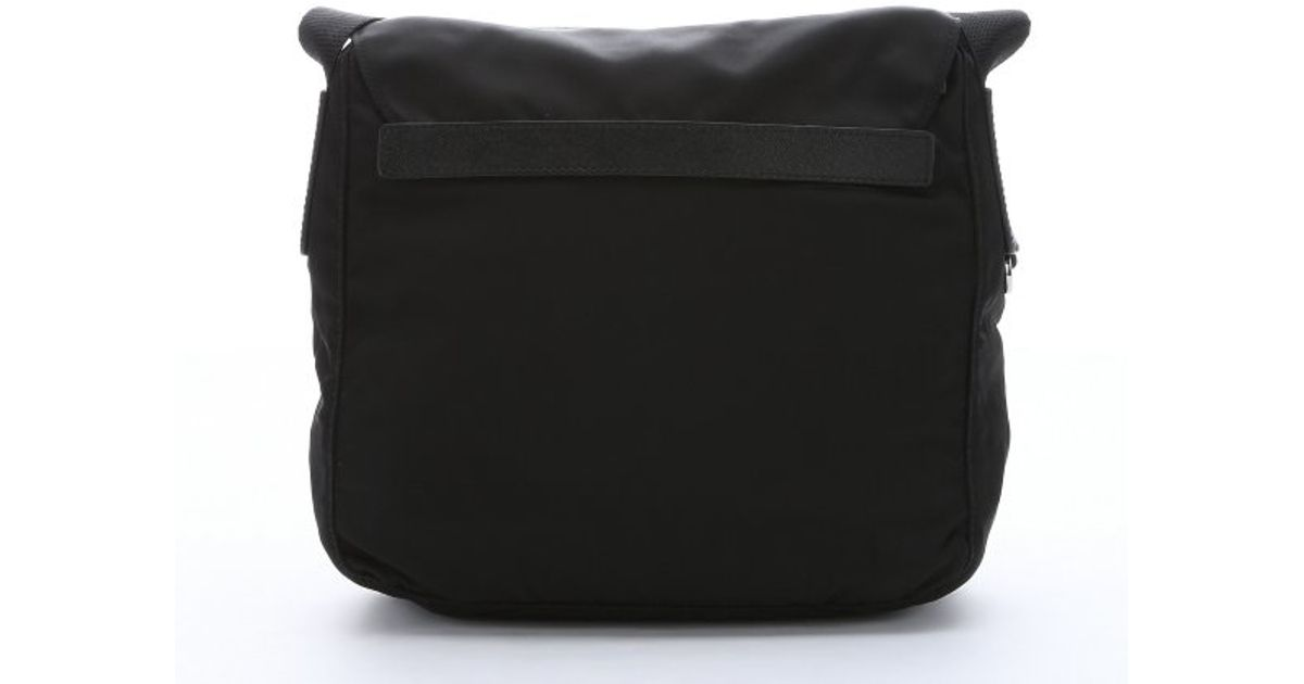 prada handbags red leather - Prada Black Nylon Small Flap Front Messenger Bag in Black for Men ...