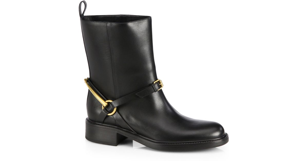 9888b0f8a Gucci Tess Leather Horsebit Ankle Boots in Black - Lyst