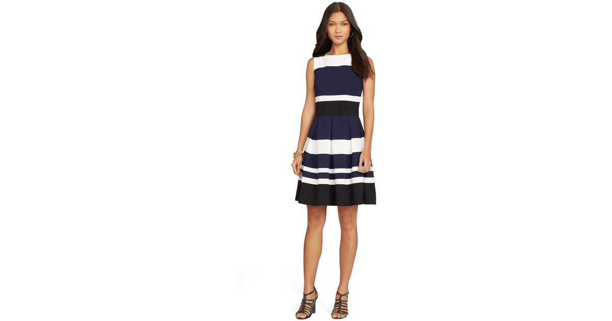 d25af6986da0 Lauren by Ralph Lauren Striped Sleeveless Dress in Blue - Lyst