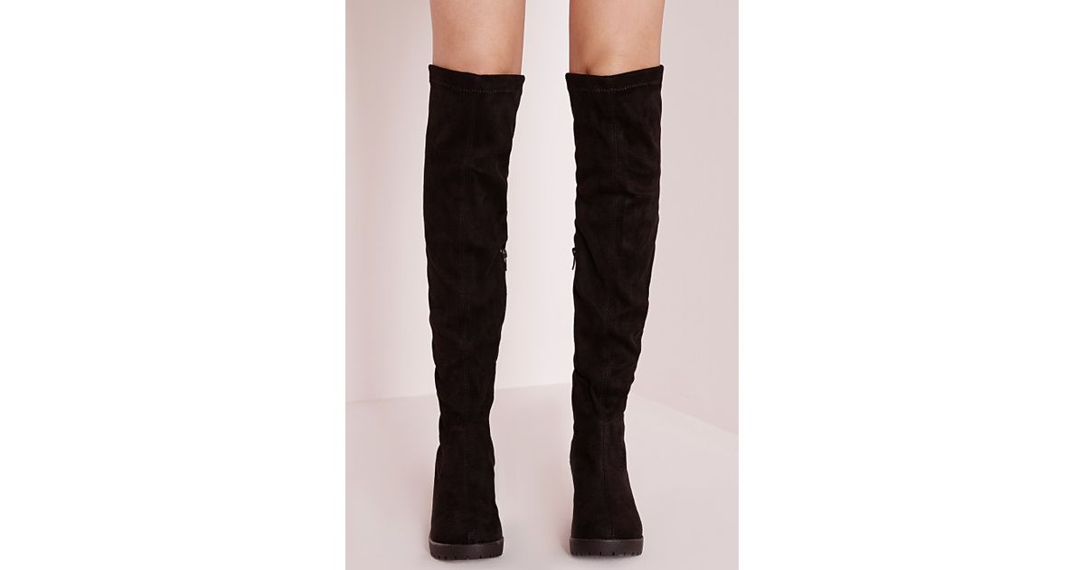 6ae5eaa0a54b Missguided Cleated Low Heel Over The Knee Boots Black in Brown - Lyst