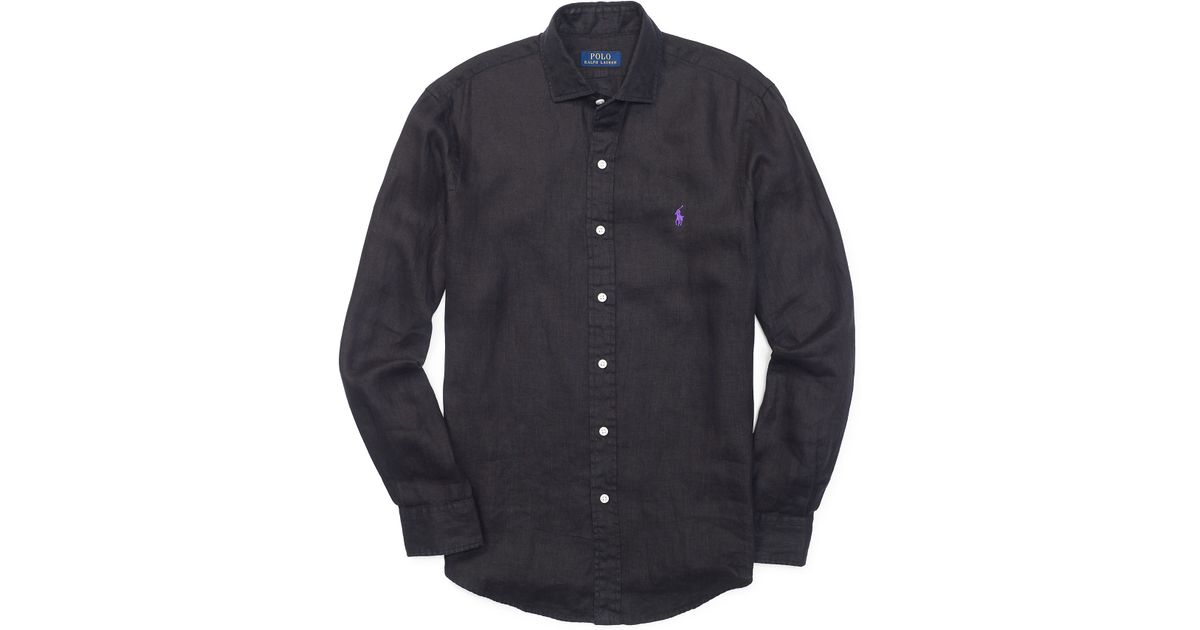 Polo ralph lauren Estate Solid Linen Shirt in Black for ...