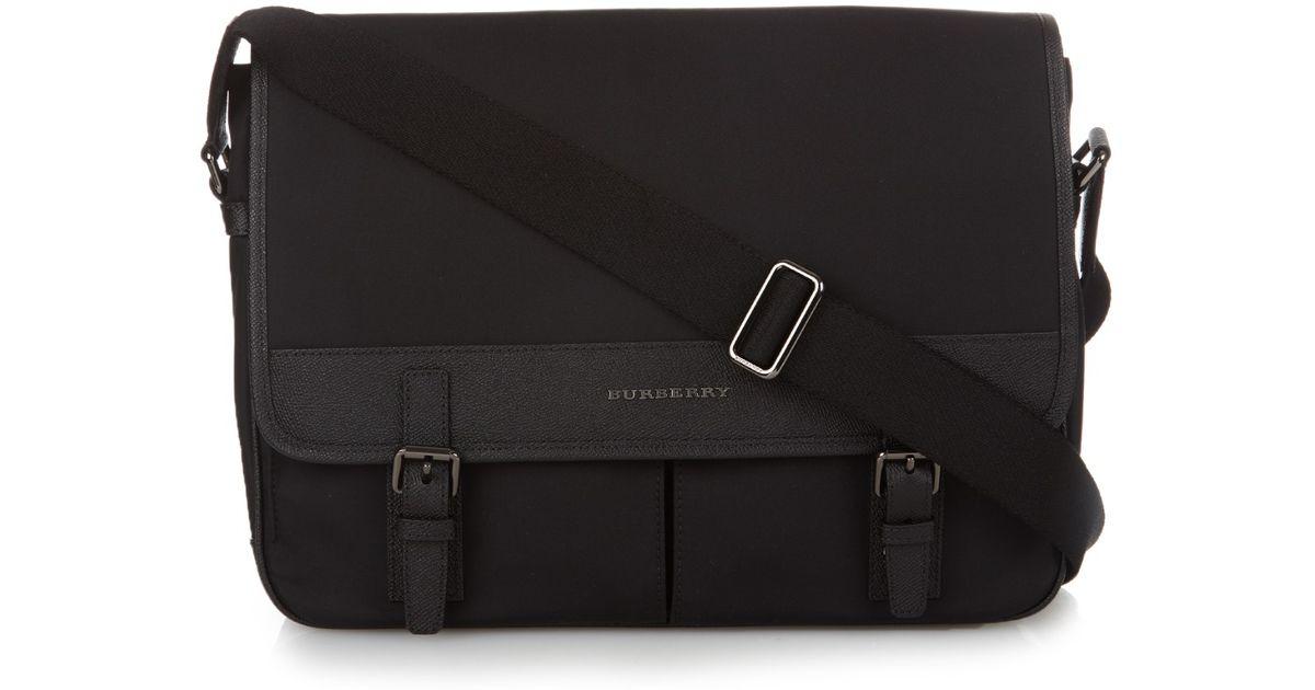 4cf0ea7a4a79 Lyst - Burberry Leather Trimmed Nylon Messenger Bag in Black for Men