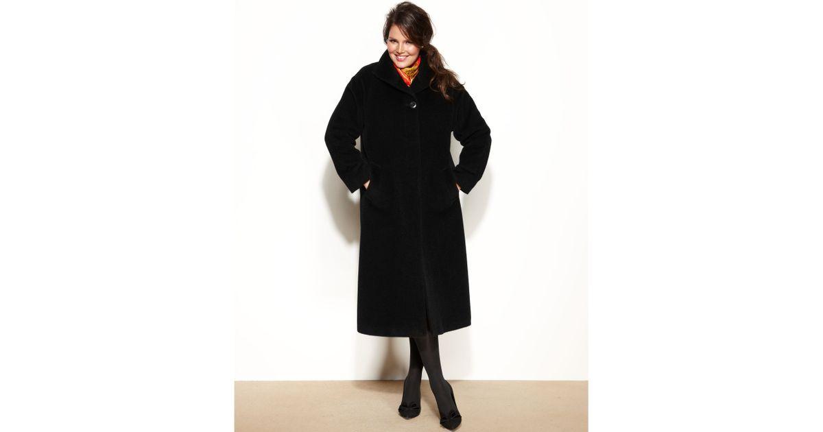 85b1235f88f Lyst - Jones New York Plus Size Wool-Alpaca-Blend Maxi Walker Coat in Black
