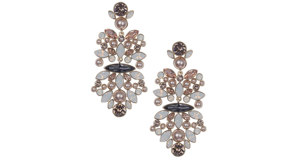 Lyst Givenchy Opal Vintage Rose Crystal Chandelier Earrings In Metallic