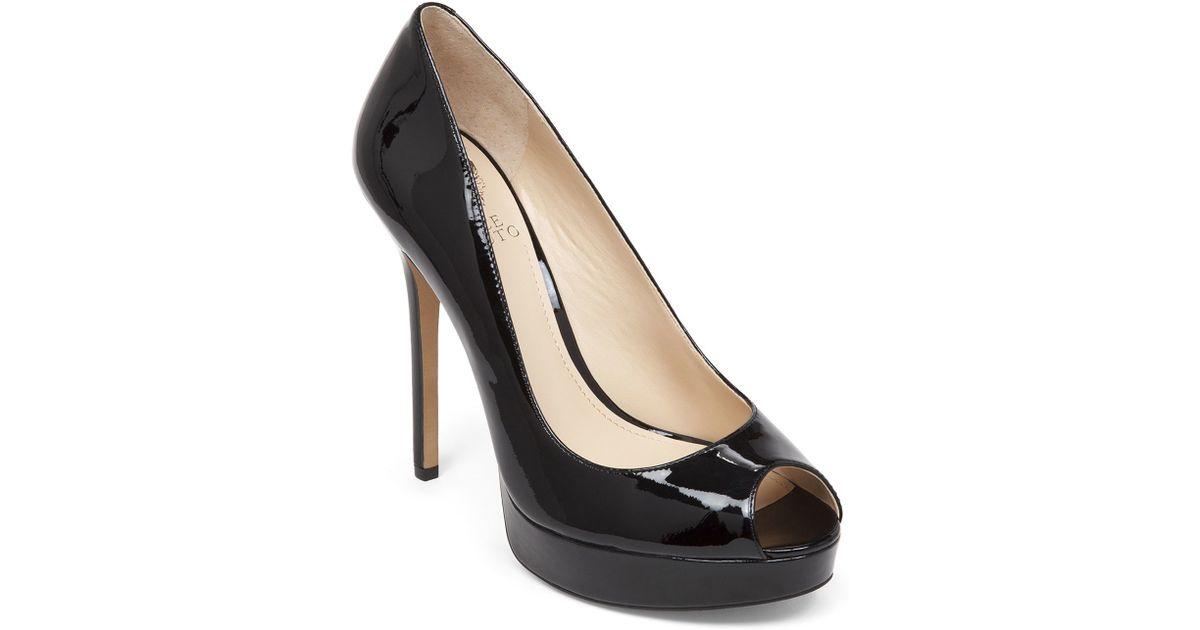 94be8b1937d1a4 Lyst - Vince Camuto Peep Toe Pumps - Lorim Patent in Black
