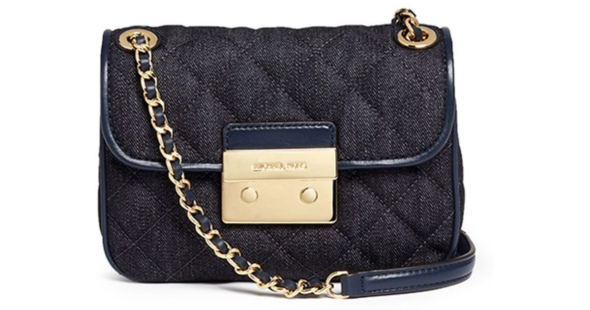 e5c5ac4b3a6e Michael Kors  sloan  Small Quilted Denim Shoulder Bag in Black - Lyst