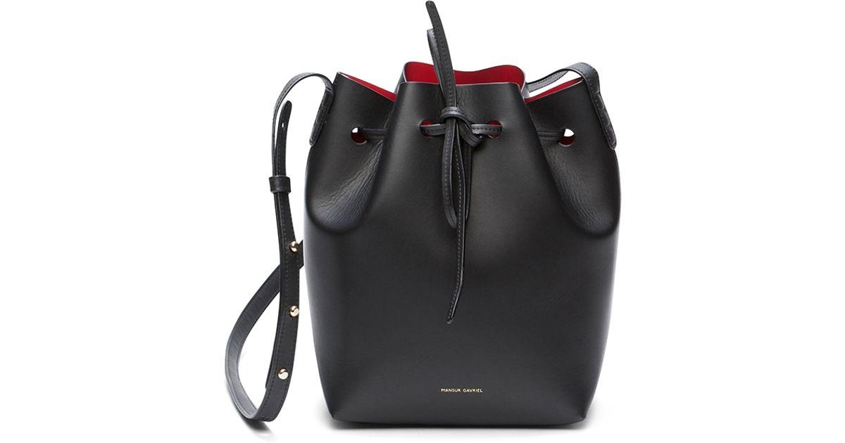 Lyst Mansur Gavriel Coated Mini Bucket Bag In Black Flamma