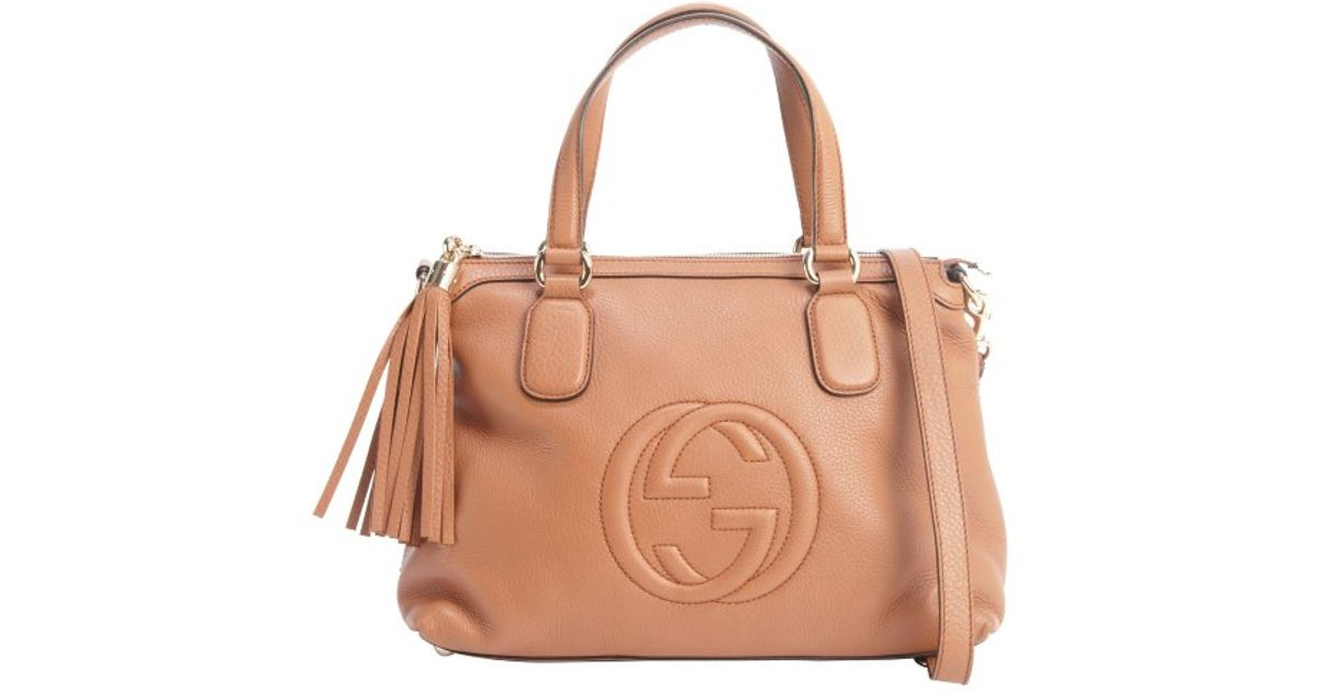 983028f21f9a Gucci Cognac Leather 'Soho' Convertible Top Handle Bag in Brown - Lyst