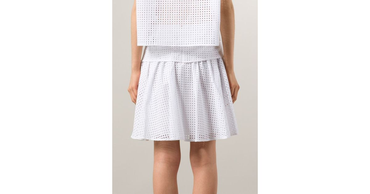 1e16446567 Rag & Bone 'lakewood' Perforated Skirt in White - Lyst