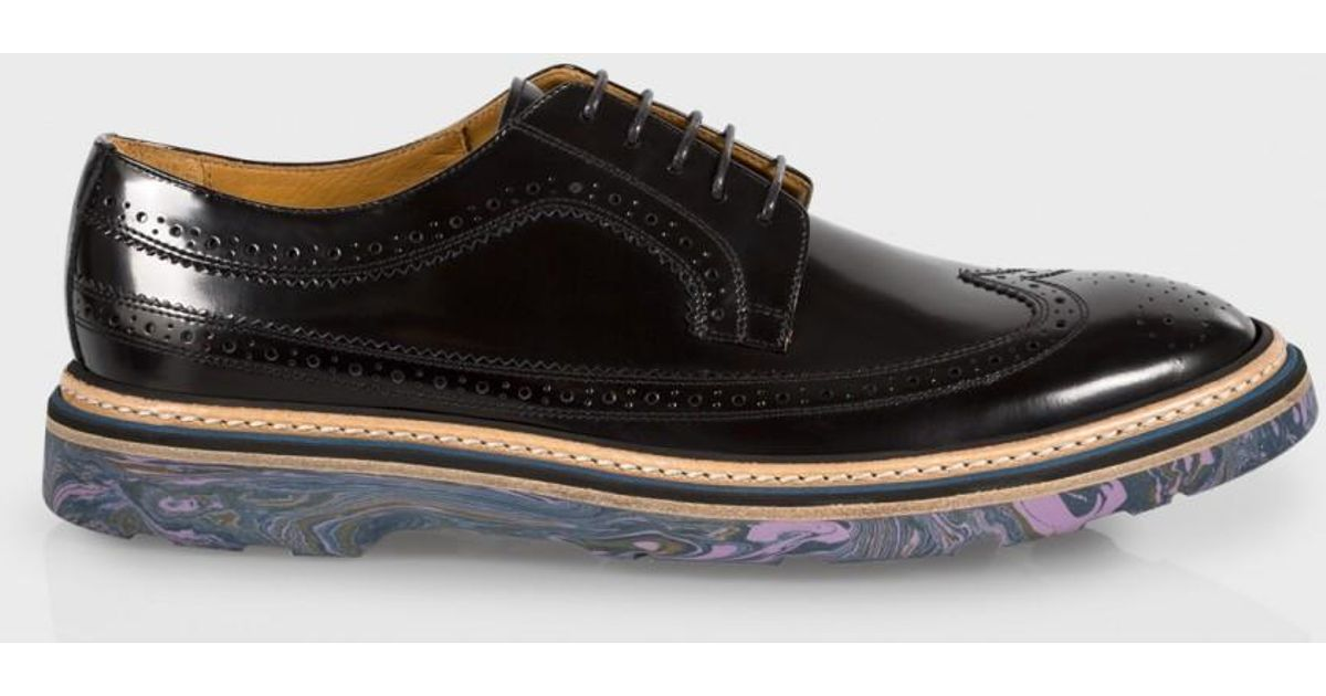 a5b71fa270b Paul Smith Men's Black Leather 'grand' Brogues With Marbled Navy Soles in  Black for Men - Lyst