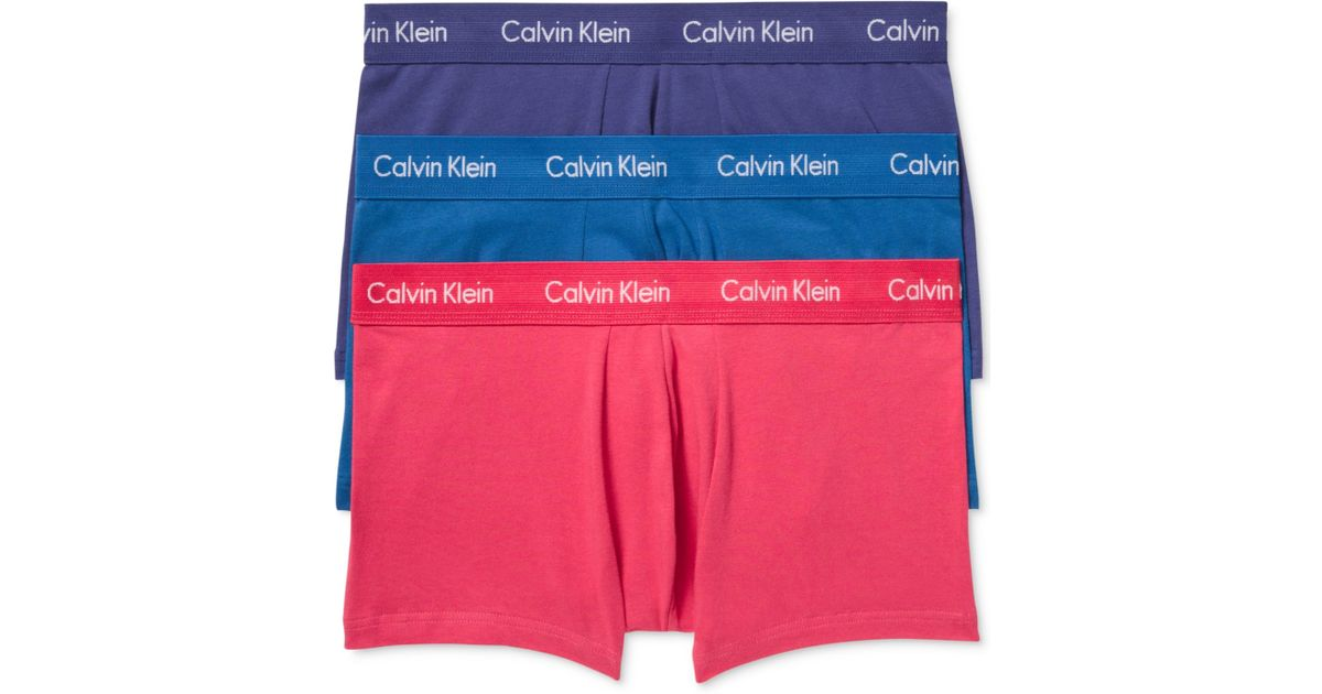 7d6129bf9fa4 Calvin Klein Men's Cotton Stretch Low-rise Trunks 3-pack Nu2664 in Blue for  Men - Lyst