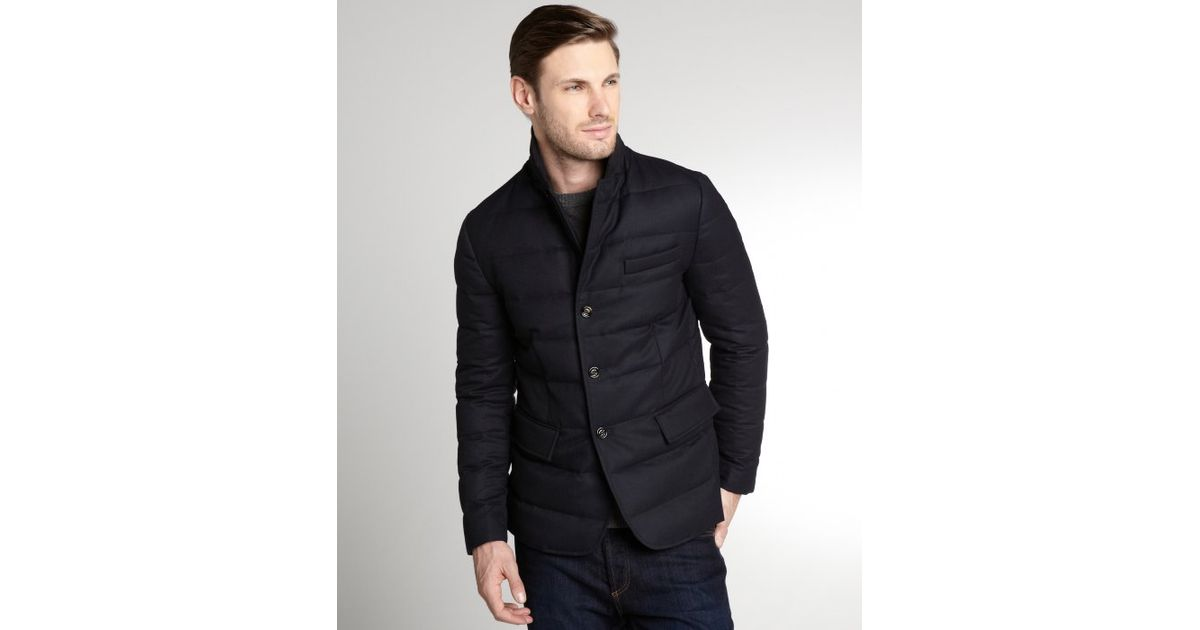 Lyst - Moncler Navy Quilted Wool Rodin Down Filled Blazerstyle Coat in Blue for Men