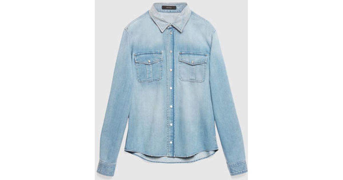 f2f70bda Gucci Light Blue Denim Two-pocket Duke Shirt in Blue for Men - Lyst