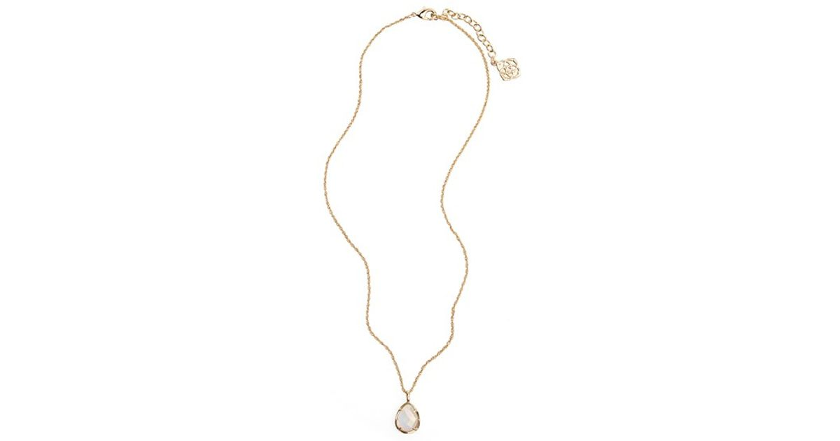 328d02ce4983c5 Kendra Scott 'kiri' Teardrop Pendant Necklace - Mother Of Pearl in White -  Lyst
