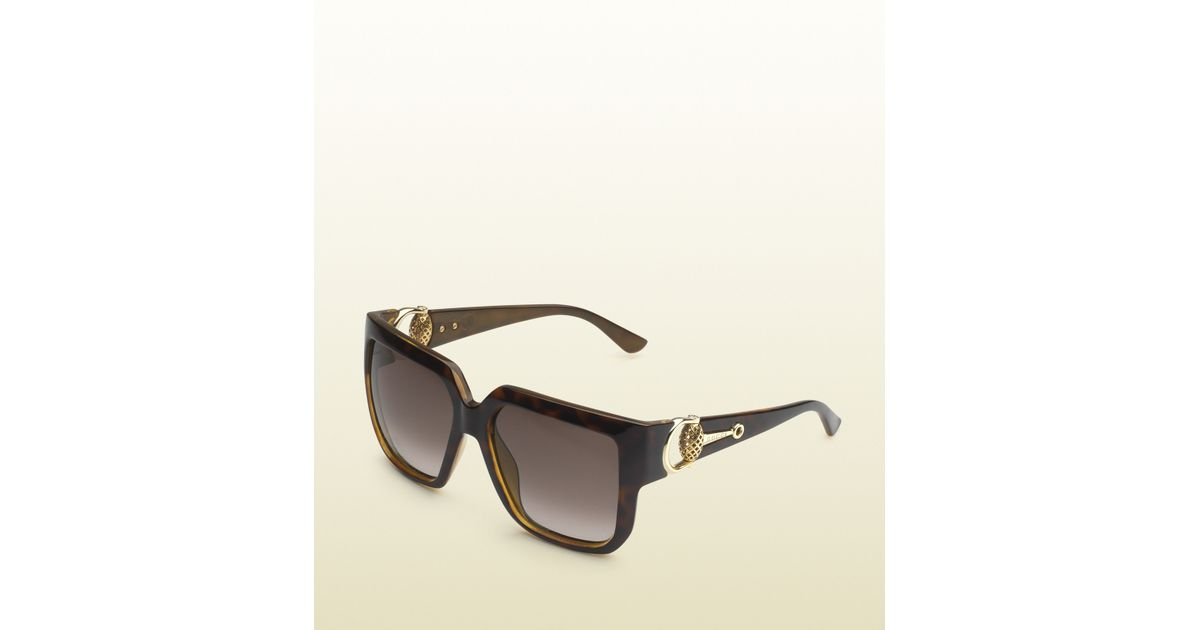 443aad28f4d Gucci Oversized Square-frame Horsebit Sunglasses in Brown - Lyst