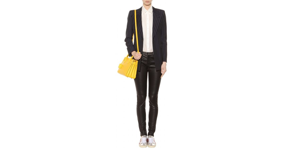 4017b7395e6a Lyst - Saint Laurent Sac De Jour Baby Leather Tote in Yellow