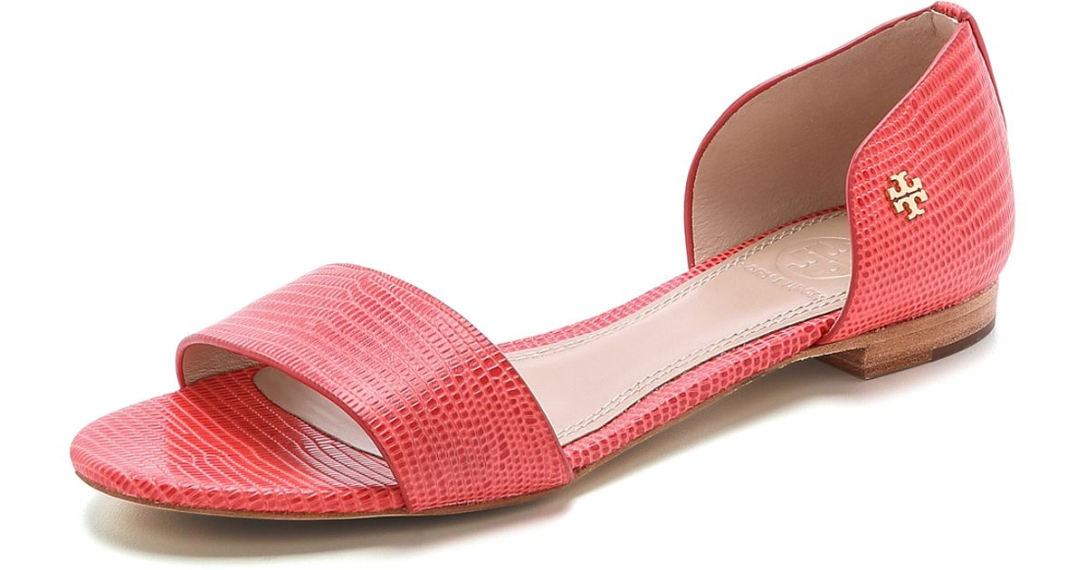 2dff353841e Lyst - Tory Burch Viv Flat Sandals - Trench Tan in Red