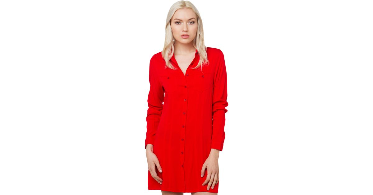 Akira longsleeve button up dress in red lyst for Akira long sleeve shirt