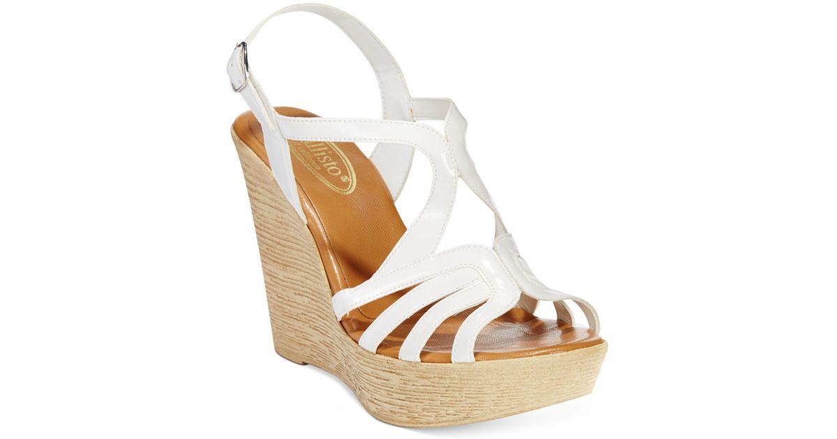 40fe7e45c88a Lyst - Callisto Tiara Platform Wedge Sandals in White