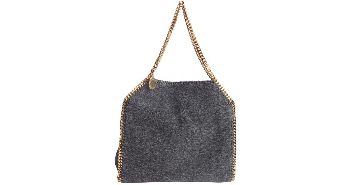 7cb1ee4b02 Lyst - Stella Mccartney Charcoal Faux Shearling Falabella Braided Chain  Detail Tote in Gray