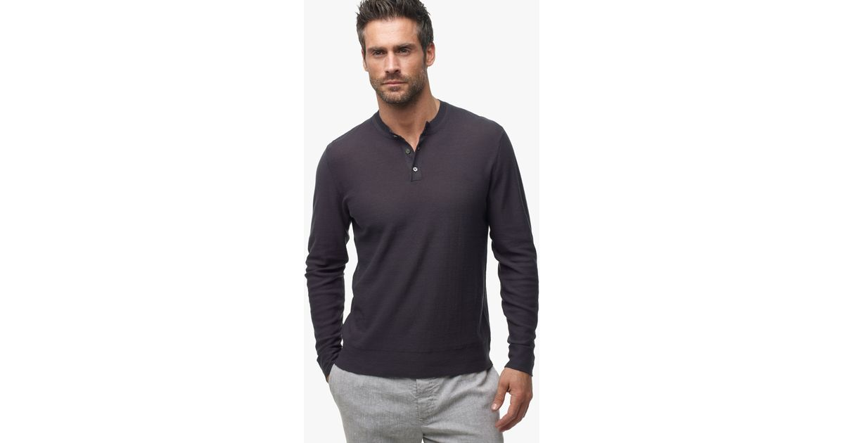 James Perse Gassed Cotton Henley Sweater In Gray For Men