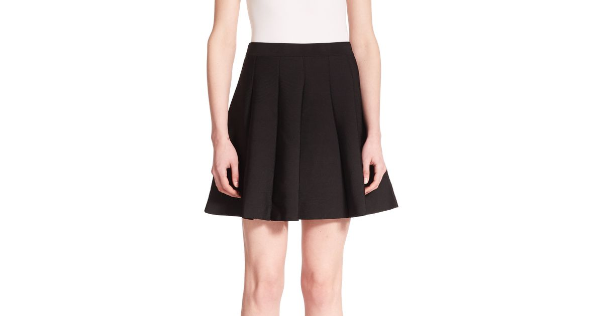 Parker Zoey Pleated Knit Skirt in Black | Lyst