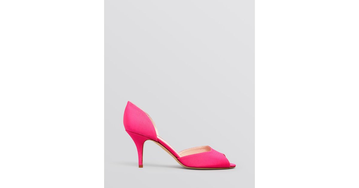 bba61ec8fff9 Lyst - Kate Spade Peep Toe D Orsay Evening Pumps - Sage High Heel Hot Pink  in Pink