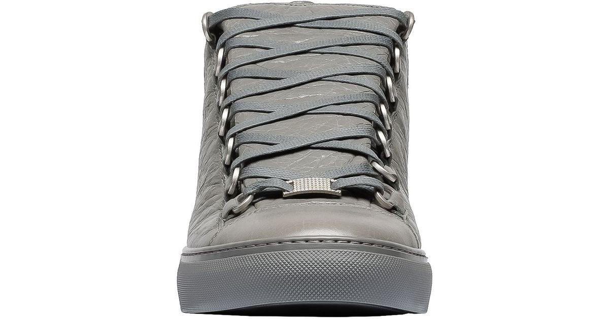 newest ec27a a195e Balenciaga Arena Leather High-Top Sneakers in Gray for Men - Lyst