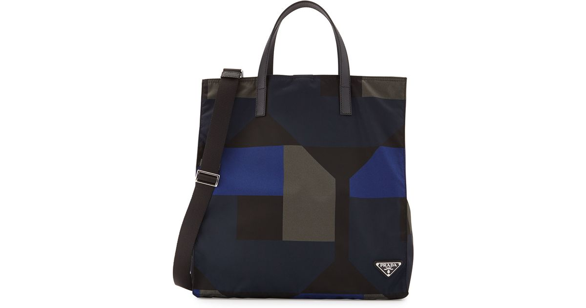 f70facab29b5 ... free shipping lyst prada mens printed nylon tote bag in black for men  8596e 432a0