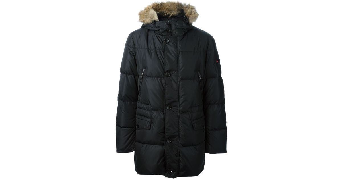 Peuterey Feather Down Faux Fur Hooded Coat in Black for Men   Lyst