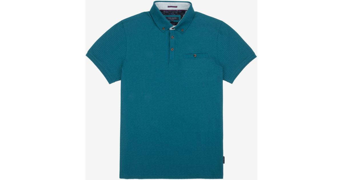 3c4bcf6a98a270 Lyst - Ted Baker Geo Textured Polo Shirt in Blue for Men