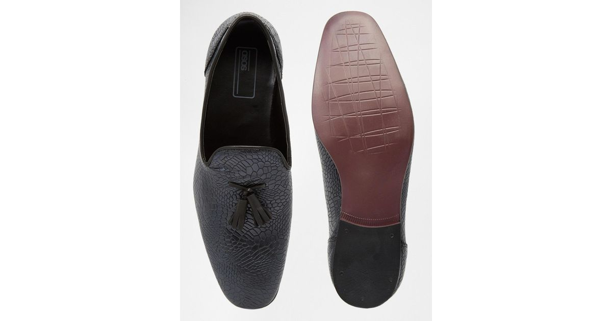 f0bcab86f2f Lyst - ASOS Tassel Loafers In Black Leather With Crocodile Effect in Black  for Men