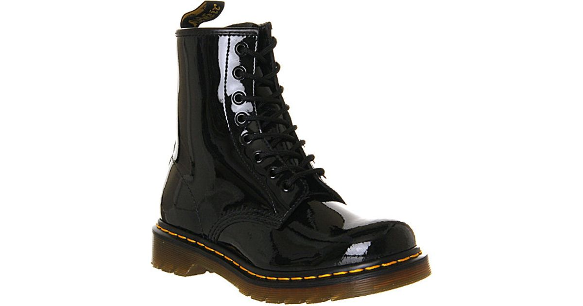 dr martens 1460 8 eye patent leather boots in black for