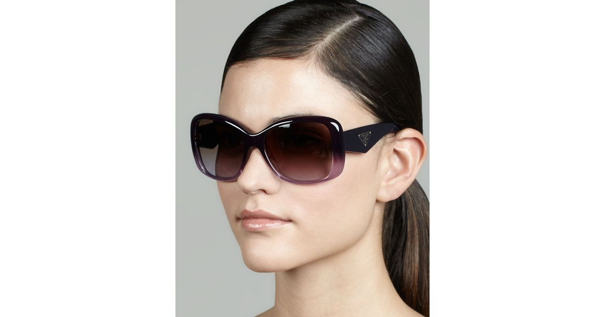 0ce9ce3fdbe Lyst - Prada Heritage Logo Square Sunglasses in Purple
