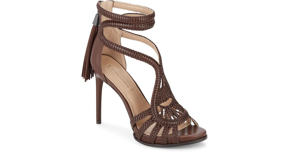 8d2cdc6f030ee Lyst - BCBGMAXAZRIA Esh Macrame Leather Sandals in Brown