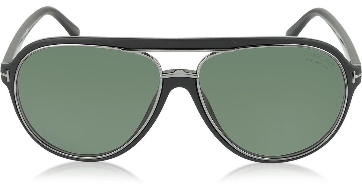bc26b503b Lyst - Tom Ford Sergio Ft0379 02R Polarized Aviator Sunglasses in Black for  Men