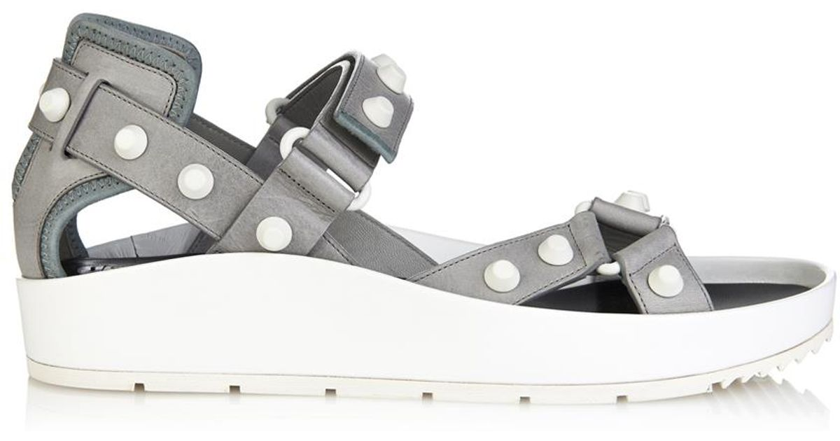 96f71296973e Lyst - Balenciaga Arena Studded Leather Platform Sandals in Gray