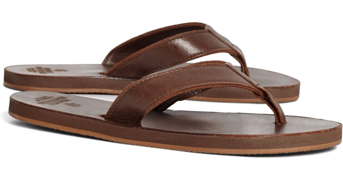 Brooks Brothers Leather Flip-Flops In Brown For Men  Lyst-5401