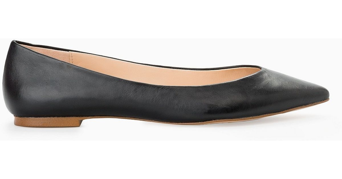 Mango Leather Flat Shoes In Black | Lyst