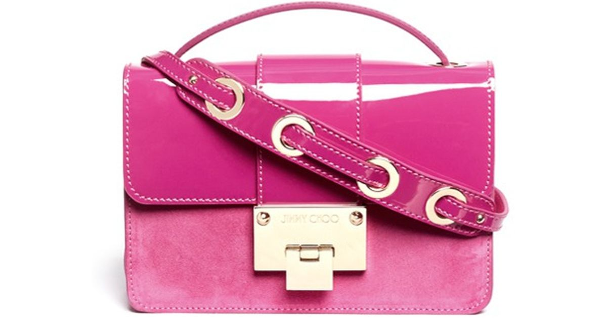 5c4d77ccf8 Jimmy Choo 'rebel' Patent Suede Crossbody Bag in Pink - Lyst