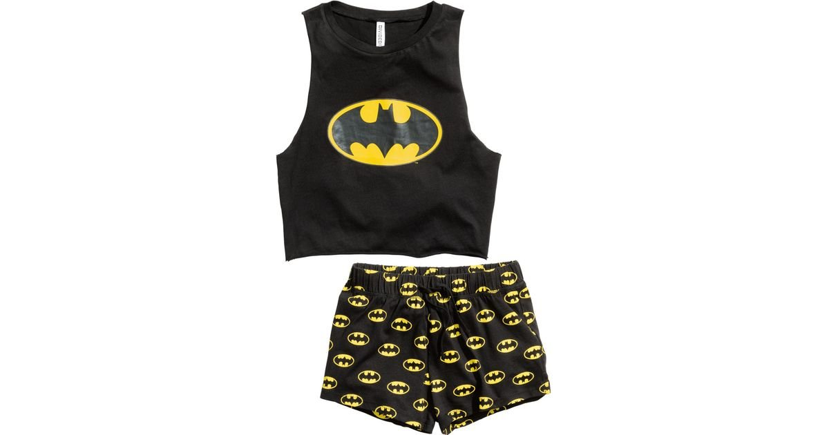 h m pyjamas with top and shorts in black lyst. Black Bedroom Furniture Sets. Home Design Ideas