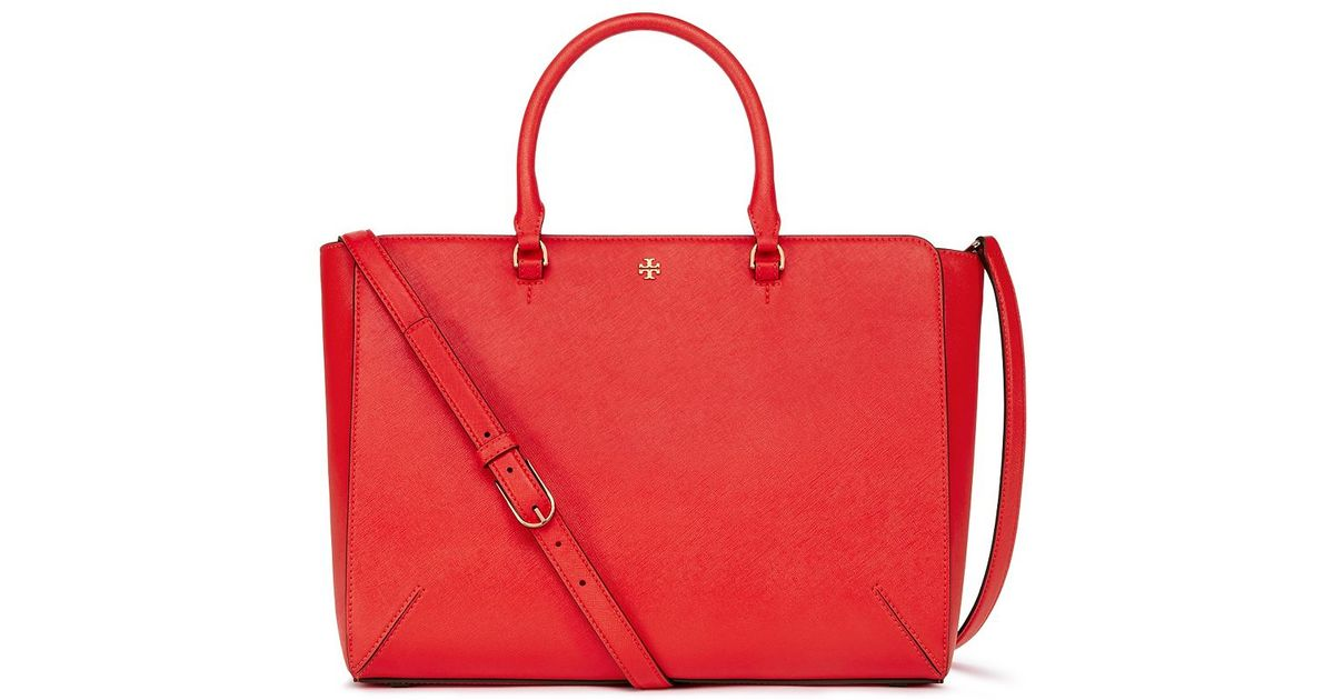 5fd94fb44f7a Lyst - Tory Burch Robinson Large Zip Tote in Red