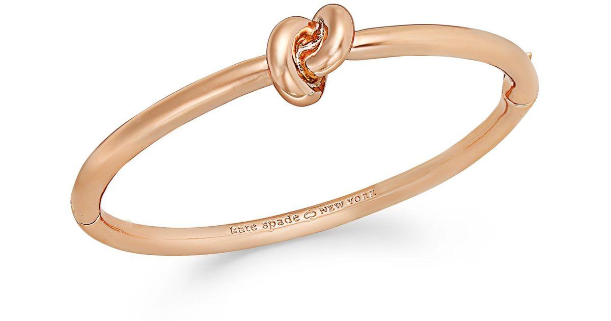 Lyst Kate Spade New York Rose Gold Tone Sailor S Knot Hinged Bangle Bracelet In Metallic