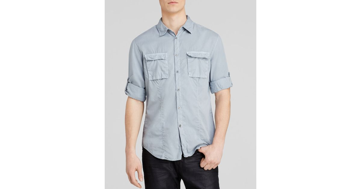 8f6cdb7da79 Lyst - John Varvatos Star Usa Utility Double Pocket Button Down Shirt -  Slim Fit in Blue for Men