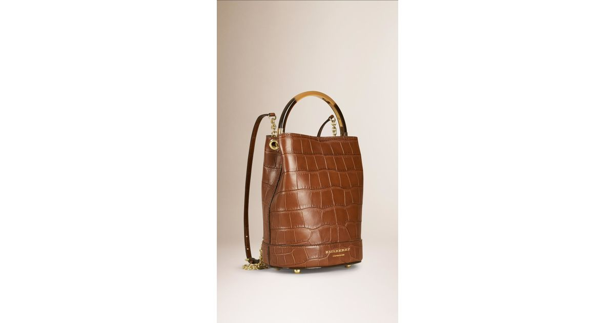 7d1845363a47 Lyst - Burberry The Bucket Backpack In Alligator in Brown