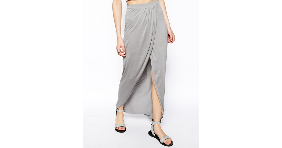 Asos Wrap Maxi Skirt In Jersey in Gray | Lyst