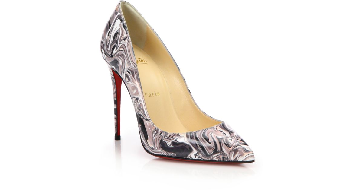 f068e0b3f070 ... closeout lyst christian louboutin pigalle follies marble swirl patent leather  pumps in white ef501 4225b