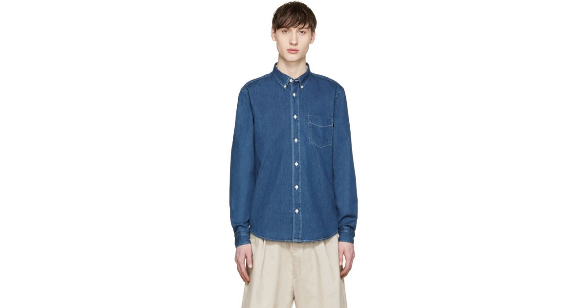 Acne indigo denim isherwood shirt in blue for men indigo for Indigo denim shirt womens