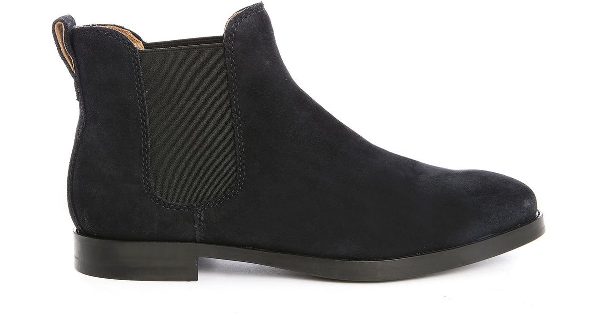 polo ralph dillian navy suede chelsea boots in blue